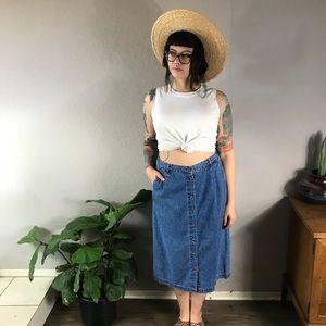 Vintage denim high waisted skirt